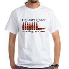 Off duty officer working on a Shirt