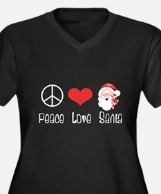 Peace Love Santa Women's Plus Size V-Neck Dark T-S