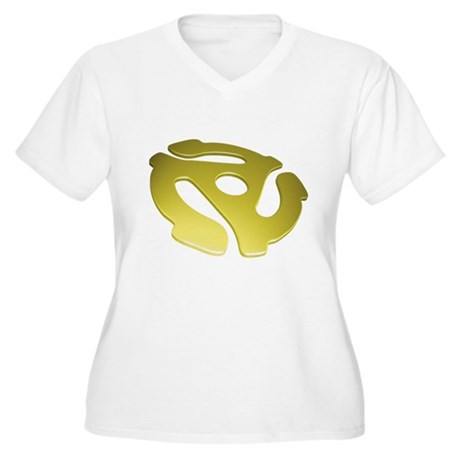 Gold 3D 45 RPM Adapter Women's Plus Size V-Neck T-