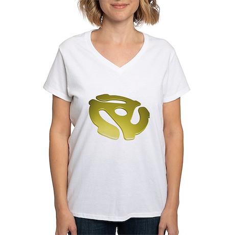 Gold 3D 45 RPM Adapter Women's V-Neck T-Shirt