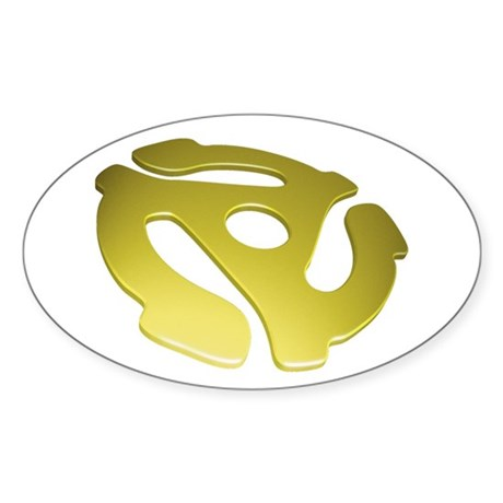 Gold 3D 45 RPM Adapter Oval Sticker (10 pk)