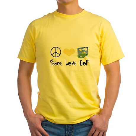 Peace Love Golf Yellow T-Shirt