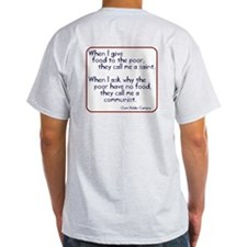 (Back) Dom Helder Camara quote Ash Grey T-Shirt