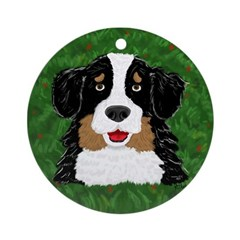 Bernese Mountain Dog Christmas Tree Ornament Round