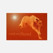 Red Irish Wolfhound Running Rectangle Magnet