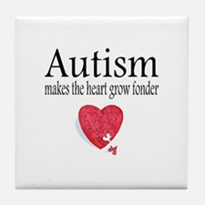 Autism Makes The Heart Grow Fonder Tile Coaster