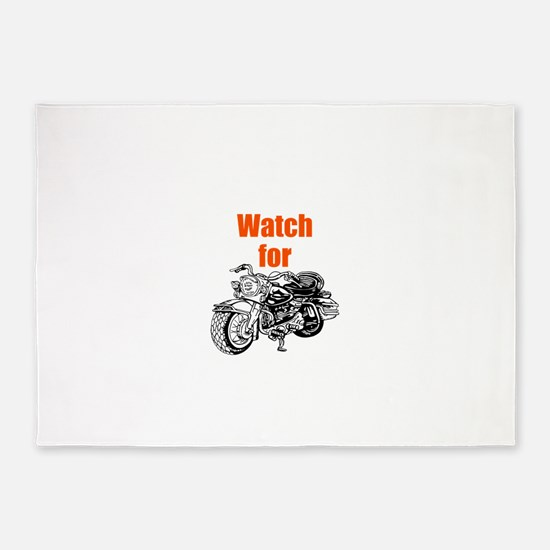 Watch for Motorcycles 5'x7'Area Rug