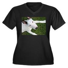 Sweet Bull Terrier Women's Plus Size V-Neck Dark T