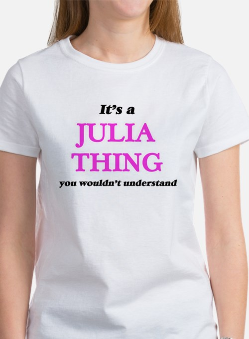 It's a Julia thing, you wouldn't u T-Shirt