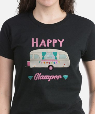 Cute Funny slogan happy camper Tee