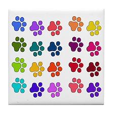 Rainbow Cat Paws Tile Coaster