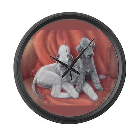 Bedlington Puppy Love Large Wall Clock