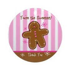 Sweet Gingerbread Thank You Ornament (Round)