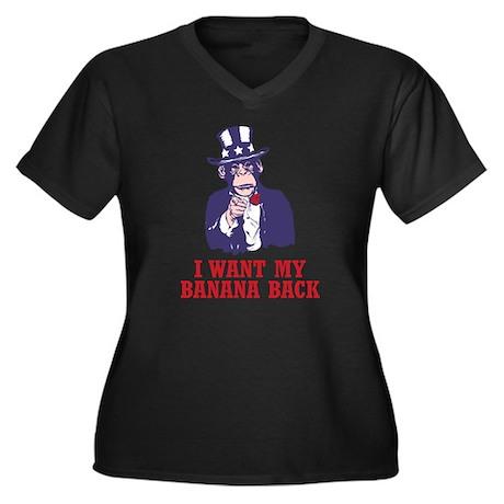 Uncle Chimp Women's Plus Size V-Neck Dark T-Shirt