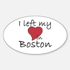 I left my heart in Boston Oval Decal