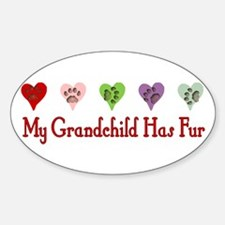 Furry Grandchild Oval Decal