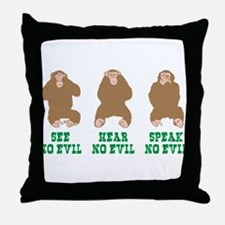 No Evil Throw Pillow