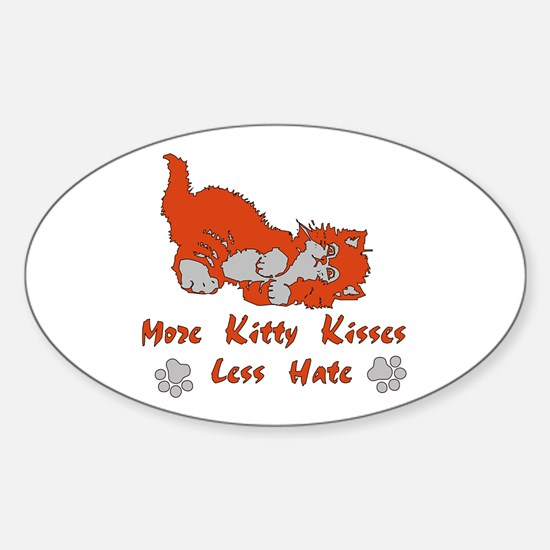 More Kitty Kisses Oval Decal