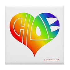 Chloe (Rainbow Heart) Tile Coaster