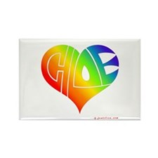 Chloe (Rainbow Heart) Rectangle Magnet