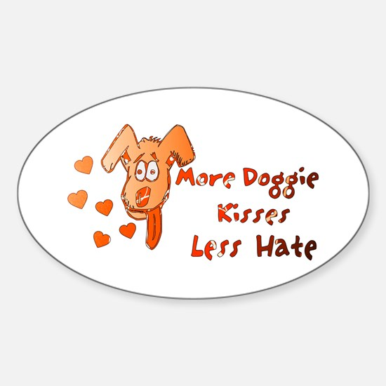More Doggie Kisses Oval Decal