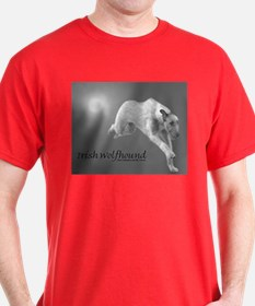Black White Irish Wolfhound Running T-Shirt