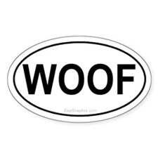 Woof Euro Dog Oval Decal