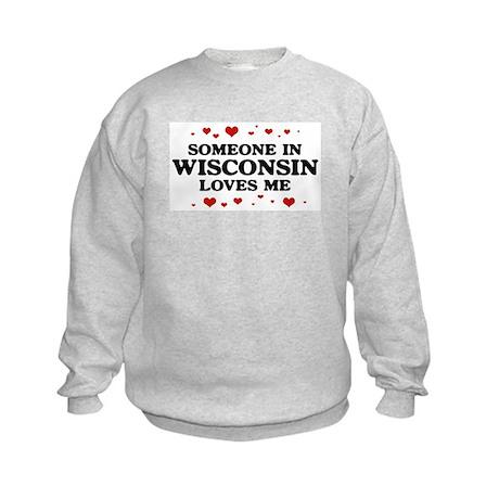 Loves Me in Wisconsin Kids Sweatshirt