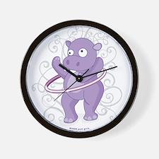 Purple Hippo Wall Clock