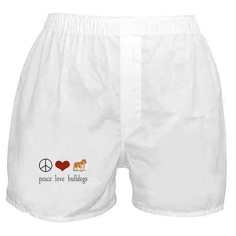 Peace Love Bulldogs Boxer Shorts