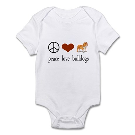 Peace Love Bulldogs Infant Bodysuit