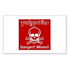 Danger Mines, Cambodia Rectangle Decal