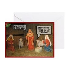 Offensive nativity scene Xmas Greeting Cards (Pk o