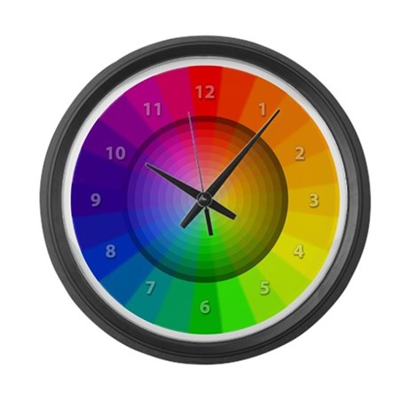 color wheel shades Large Wall Clock