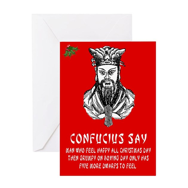 Funny Confucius Saying Christmas Greeting Card By