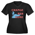 Change Has Come Women's Plus Size V-Neck Dark T-Sh