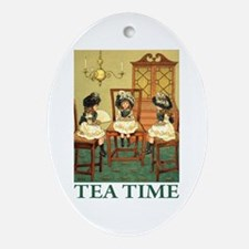 TEA TIME Oval Ornament