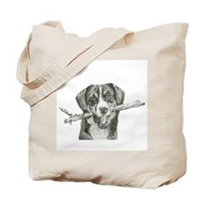Dog with Stick Tote Bag