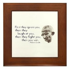 "Gandhi Quote - ""First they ig Framed Tile"
