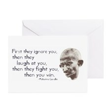 """Gandhi Quote - """"First they ig Greeting Cards (Pack"""