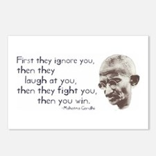 """Gandhi Quote - """"First they ig Postcards (Package o"""