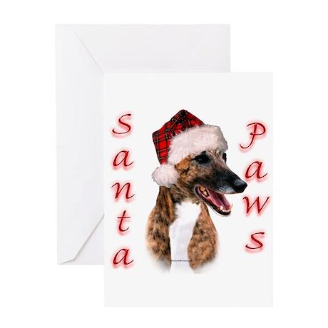 Brindle Santa Paws Greeting Card