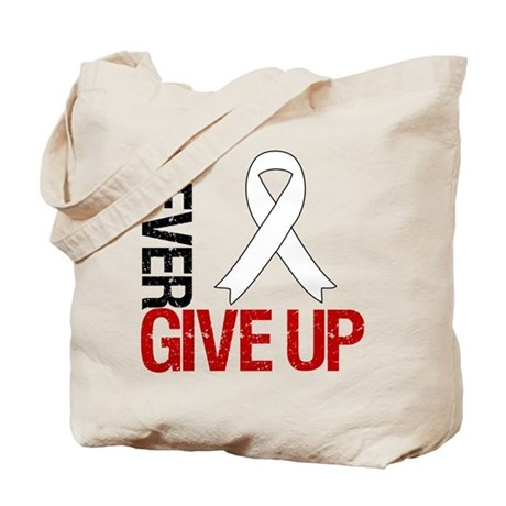 Lung Cancer Never Give Up Tote Bag