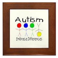 Autism, Embrace Differences Framed Tile