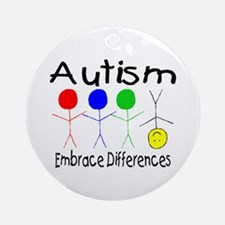 Autism, Embrace Differences Ornament (Round)