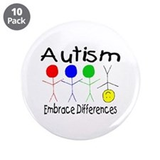 """Autism, Embrace Differences 3.5"""" Button (10 pack)"""