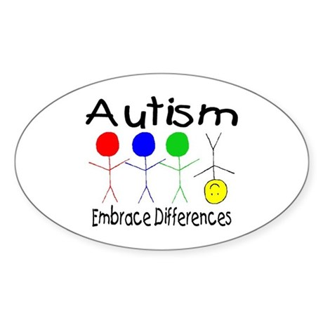 Autism, Embrace Differences Oval Sticker