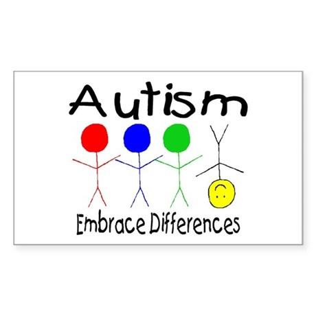Autism, Embrace Differences Rectangle Sticker