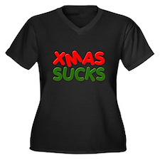 XMAS SUCKS Women's Plus Size V-Neck Dark T-Shirt
