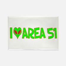 I Love-Alien Area 51 Rectangle Magnet